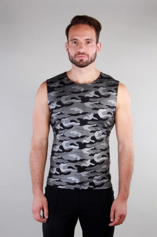 Metallic Camouflage Sleeveless Vest