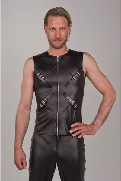 Sleeveless Buckle and Zipper Vest