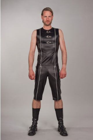 Sleeveless Vegan Leather Buckled Vest w/ Zippers