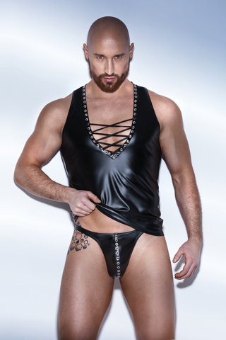 Matte Wetlook Tank Top w/ Lacing