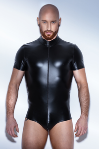 Matte Wetlook Bodysuit w/ Short Sleeve