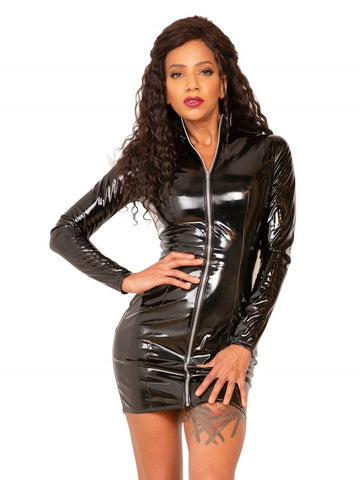 PVC Long Sleeved Mini Dress