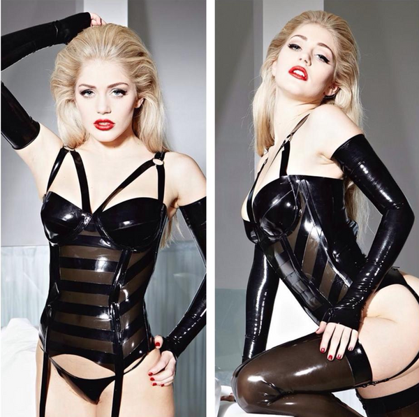 Black Latex Bandage Corselette with 4 Garter Straps