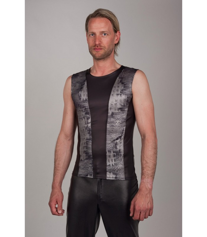 Sleeveless Snake Print Panelled Vest