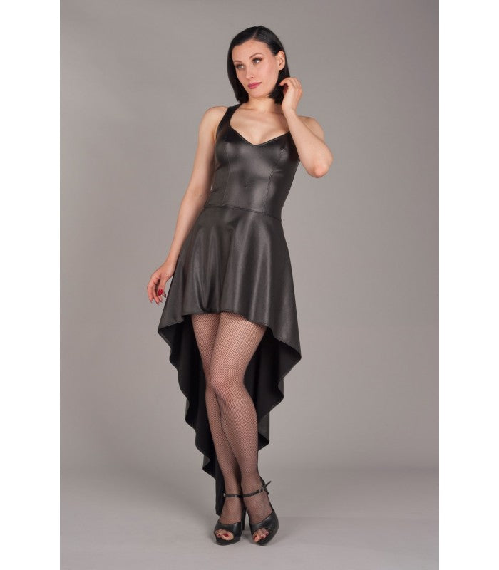 Hi-Low Faux Leather Dress