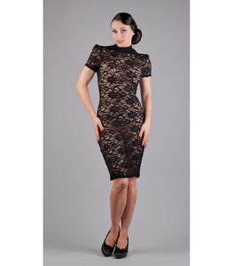 Black Lace High Neck Dress