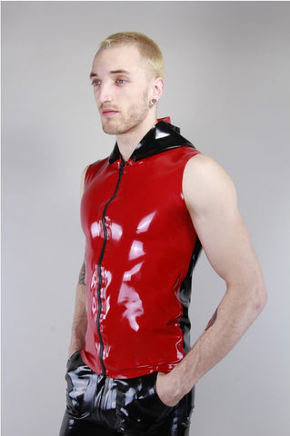 Latex Sleeveless Contrast Hooded Top