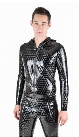 Patterned Latex Long Sleeve Men's Hooded Top