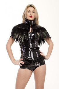 Feather Trimmed PVC Capelet