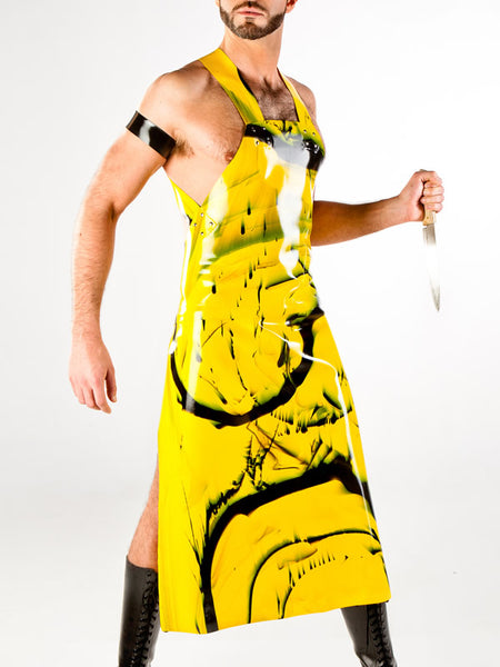 Marble Latex Long Apron with Zipper