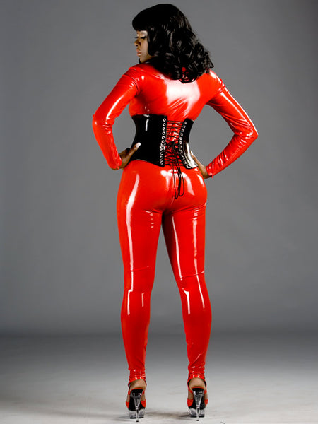 Woman's Latex Catsuit With Front Zip