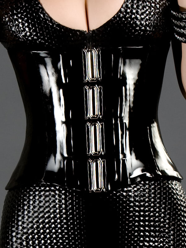 Latex Longline Corset with Buckle Front