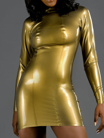Latex Long Sleeved Mini Dress