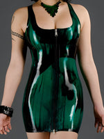 Marbled Latex Cocktail Dress with Front Zip