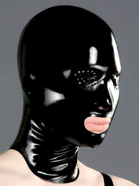 Latex Hood with Open Mouth and Perforated Eyes