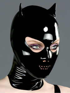 Latex Devil Hood with Nose and Perforated Mouth