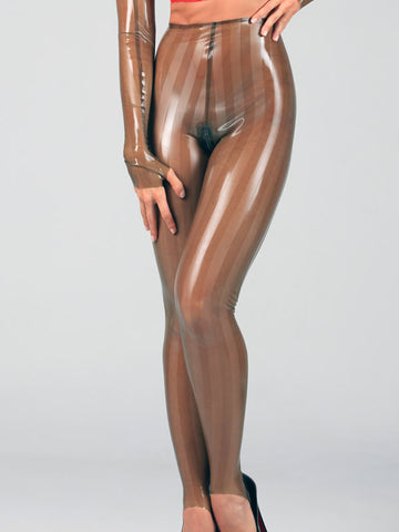 Ladies Striped Latex Stirrup Leggings