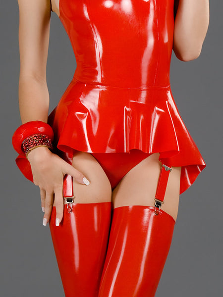 Latex Flared Mini Skirt