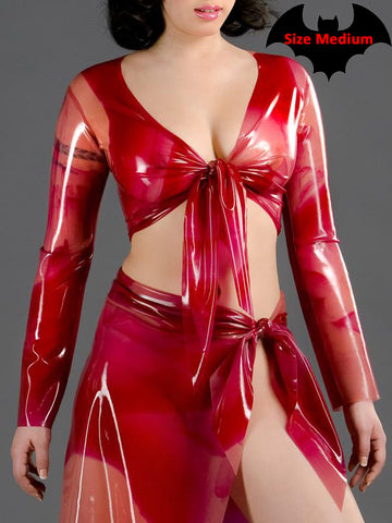 Marbled Latex Wrap Top