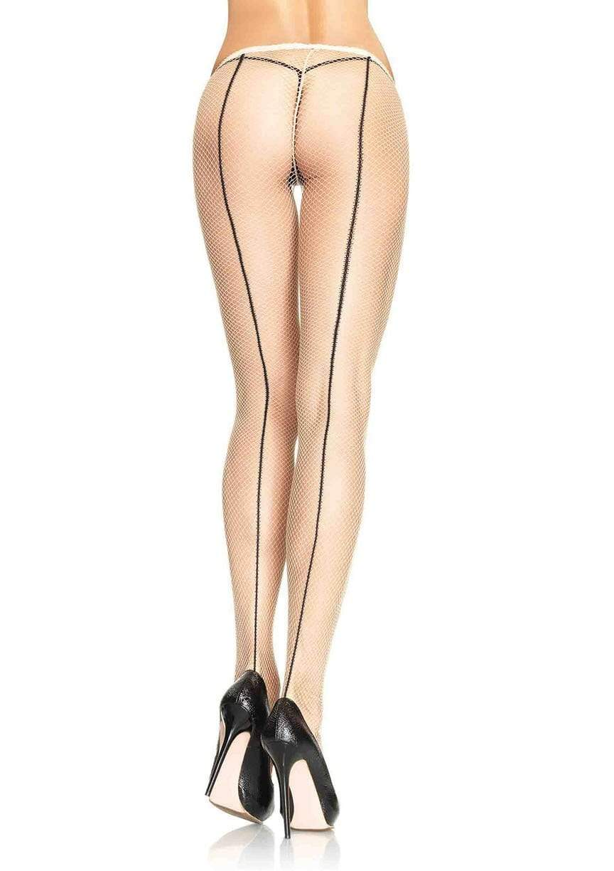 Contrast Backseam Fishnet Pantyhose