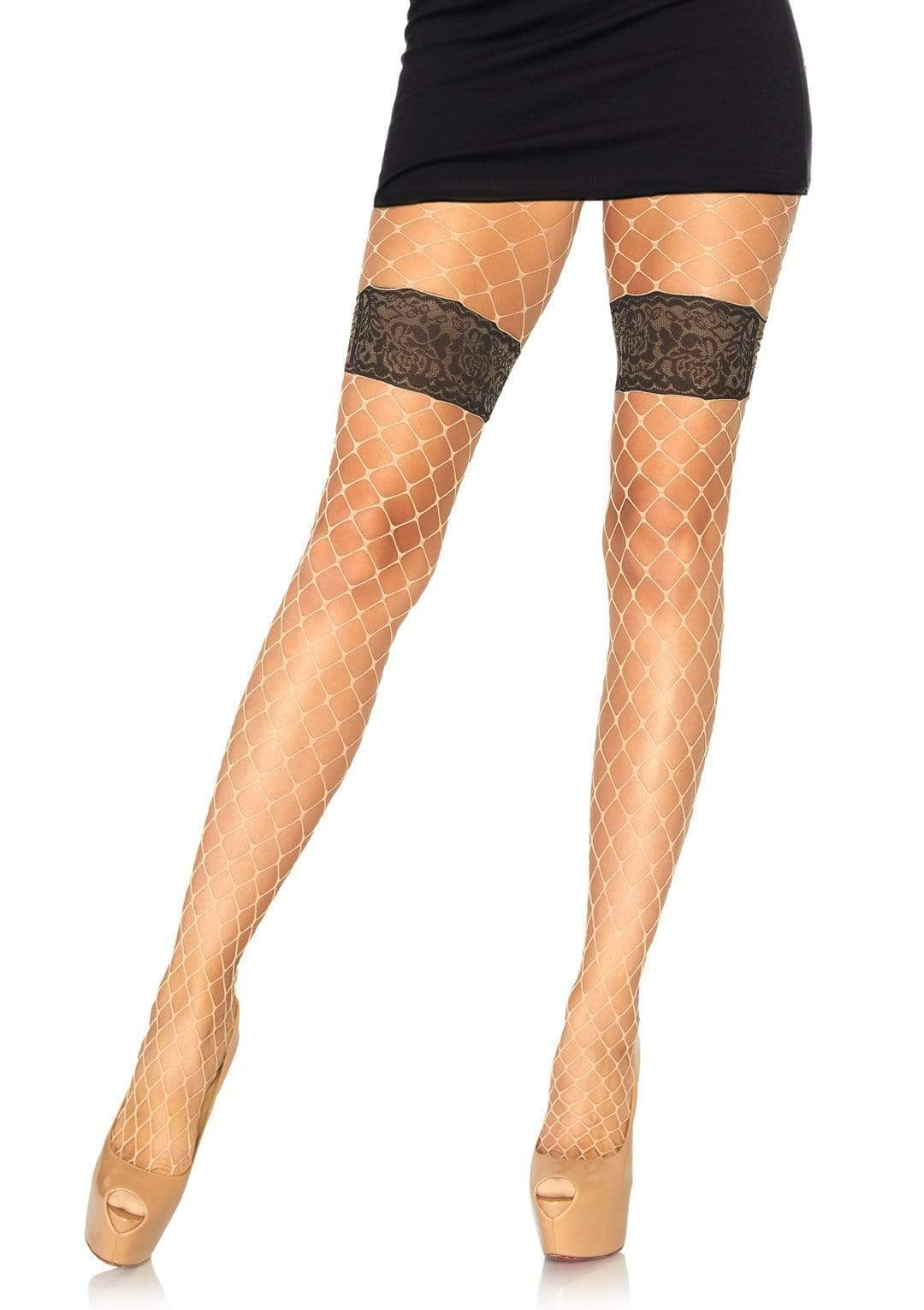 Diamond Fishnet Tights with Faux Garter