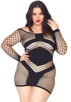 Diamond Net Mini Dress Plus