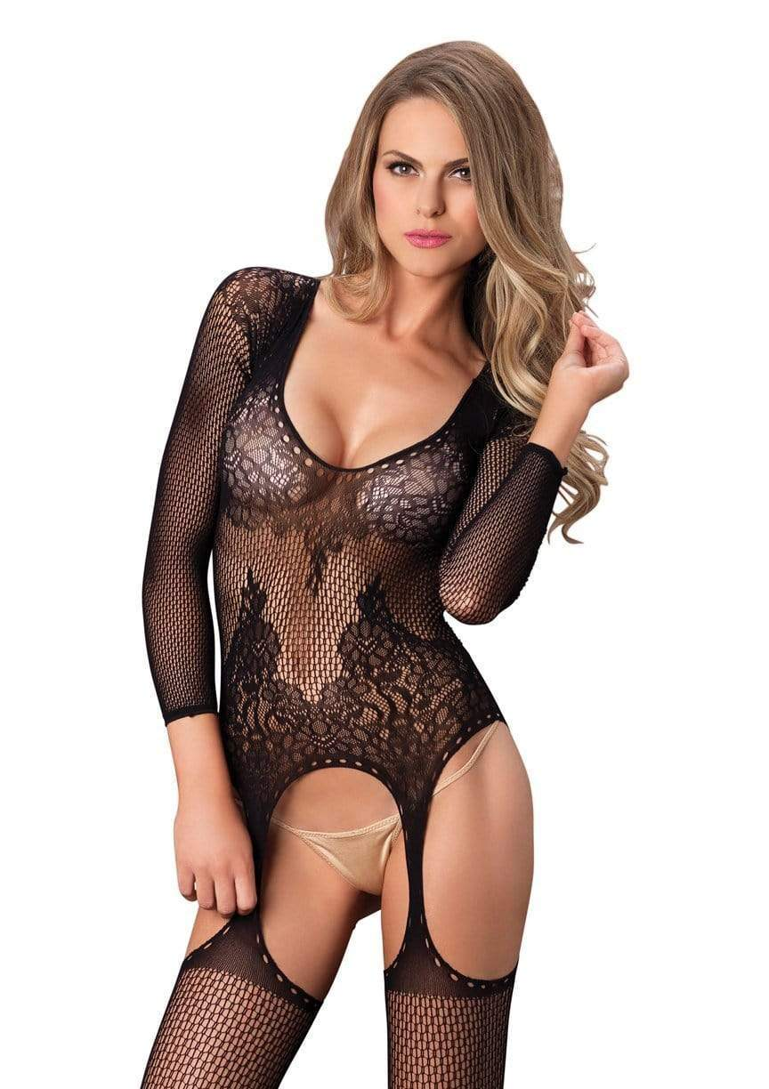 Ring Net and Lace Suspender Bodystocking
