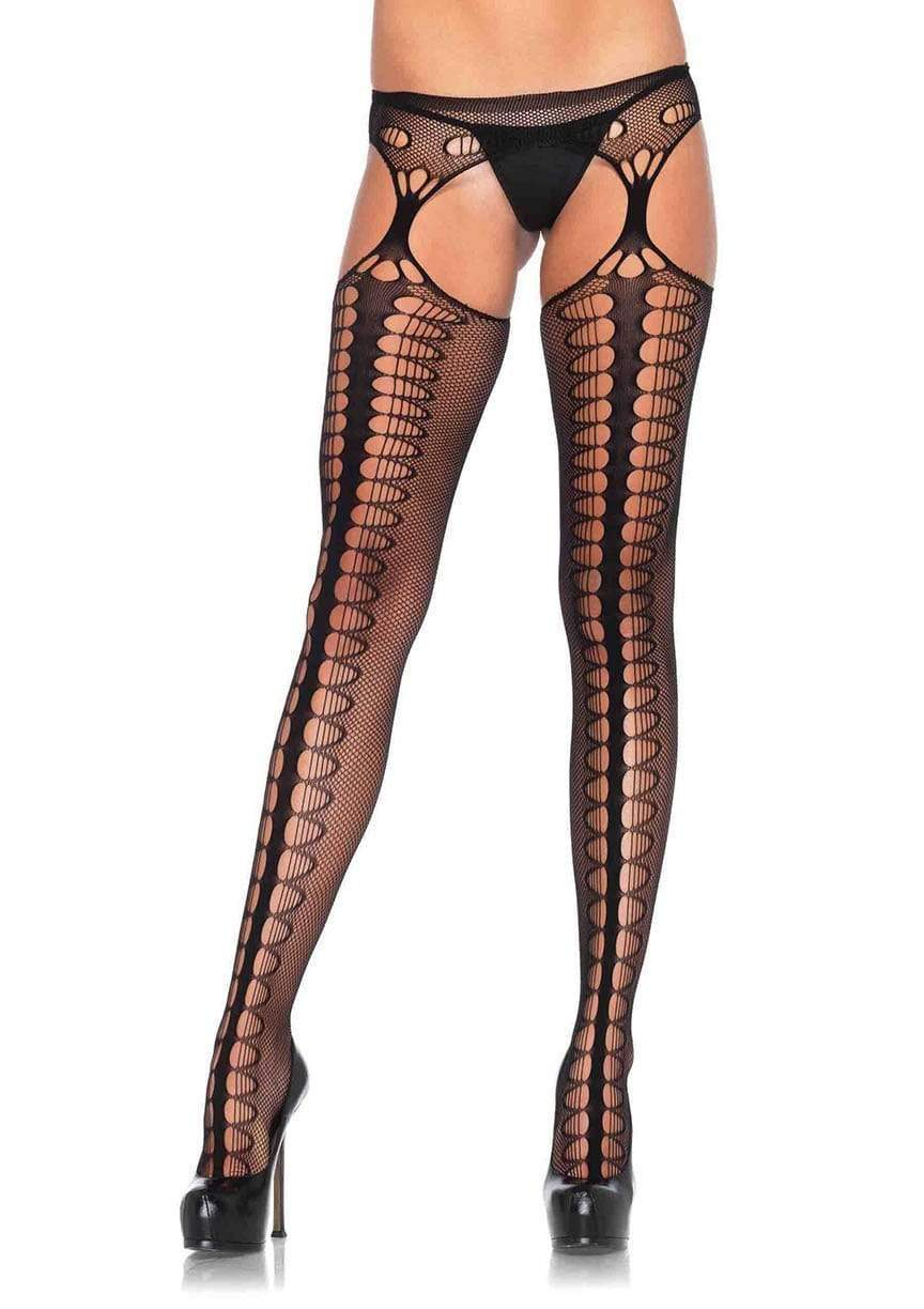 Scale Net Stockings with Attached Garter Belt