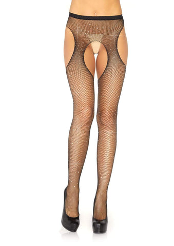Crystalized Fishnet Suspender Pantyhose