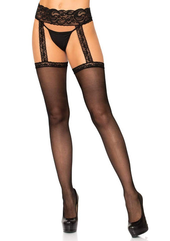 Sheer Lace Top Stockings with Attached Garterbelt