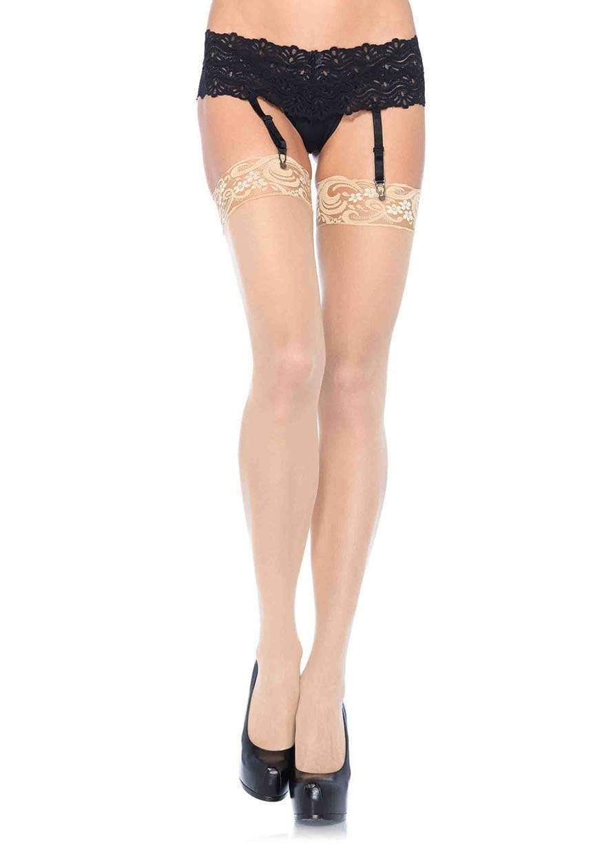 Lace Top Sheer Stockings in Plus Size