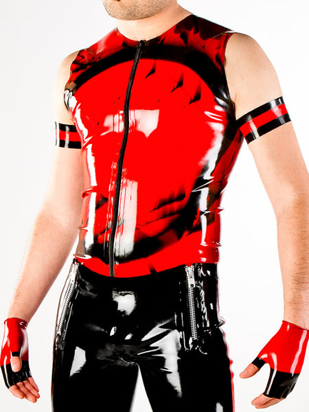 Men's Marbled Latex Vest with Zipper