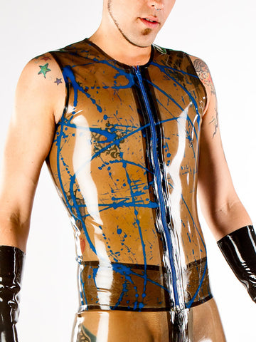 Men's Splattered Latex Vest with Zipper