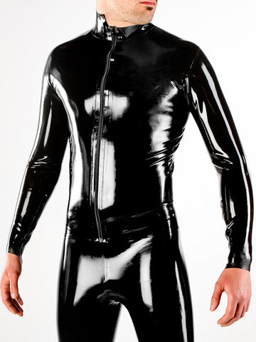 Men's Latex Long Sleeved Shirt with Front Zip