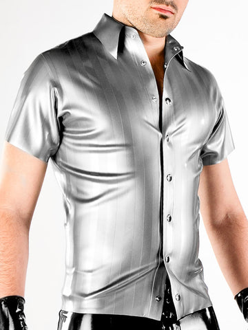 Men's Striped Latex Short Sleeve Shirt