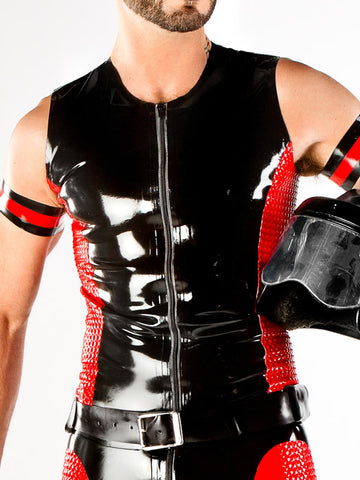 Men's Latex Moto Vest with Textured Panels