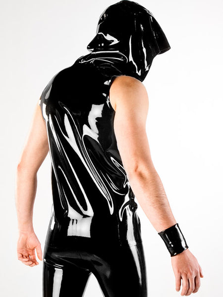 Men's Latex Hooded Vest with Coloured Zipper