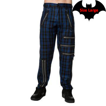 Dark Blue Plaid Pants with Zipper Details