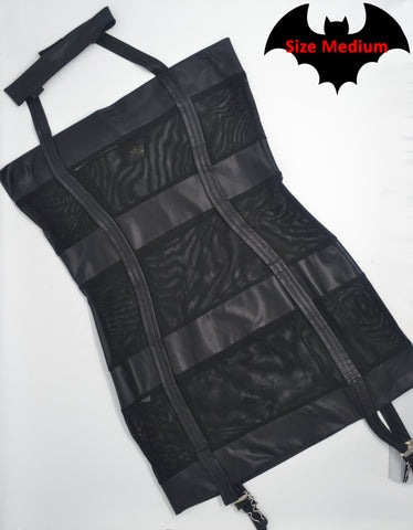 Matte Wetlook and Mesh Dress with Attached Garters