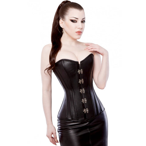 Leather Overbust Corset with Swing Clasp
