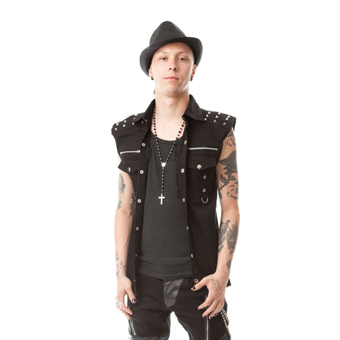Studded Black Punk Vest