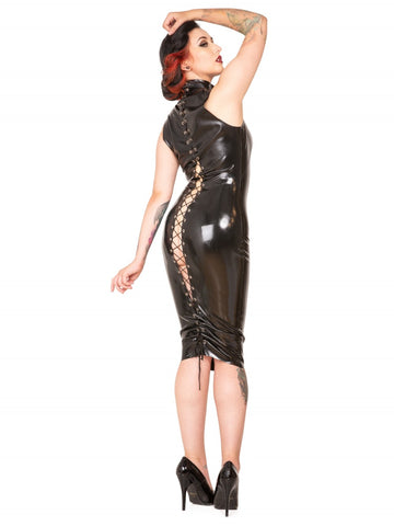 Black Lace Up Flash-Back Latex Dress