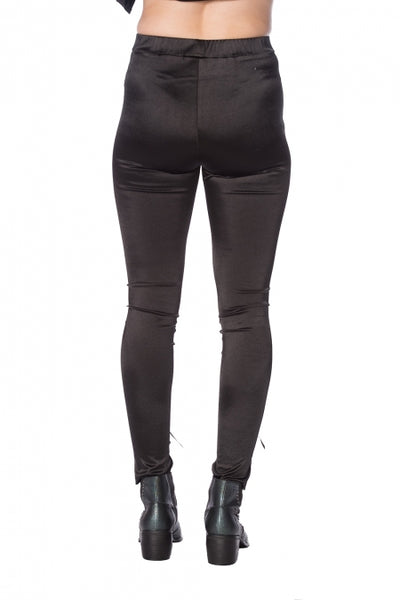 Lace Up Satin Leggings