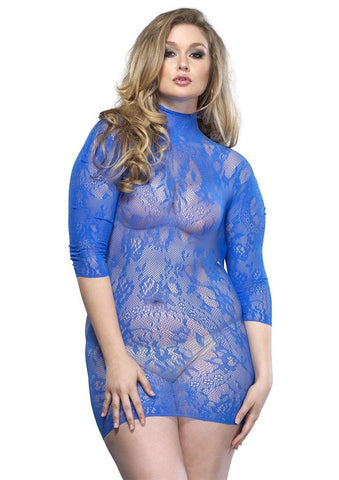 Blue Floral Lace Mini Dress - Plus Sized
