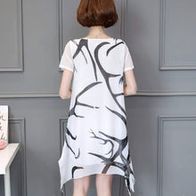 Load image into Gallery viewer, Womens Uneven Black and White Chiffon Dress