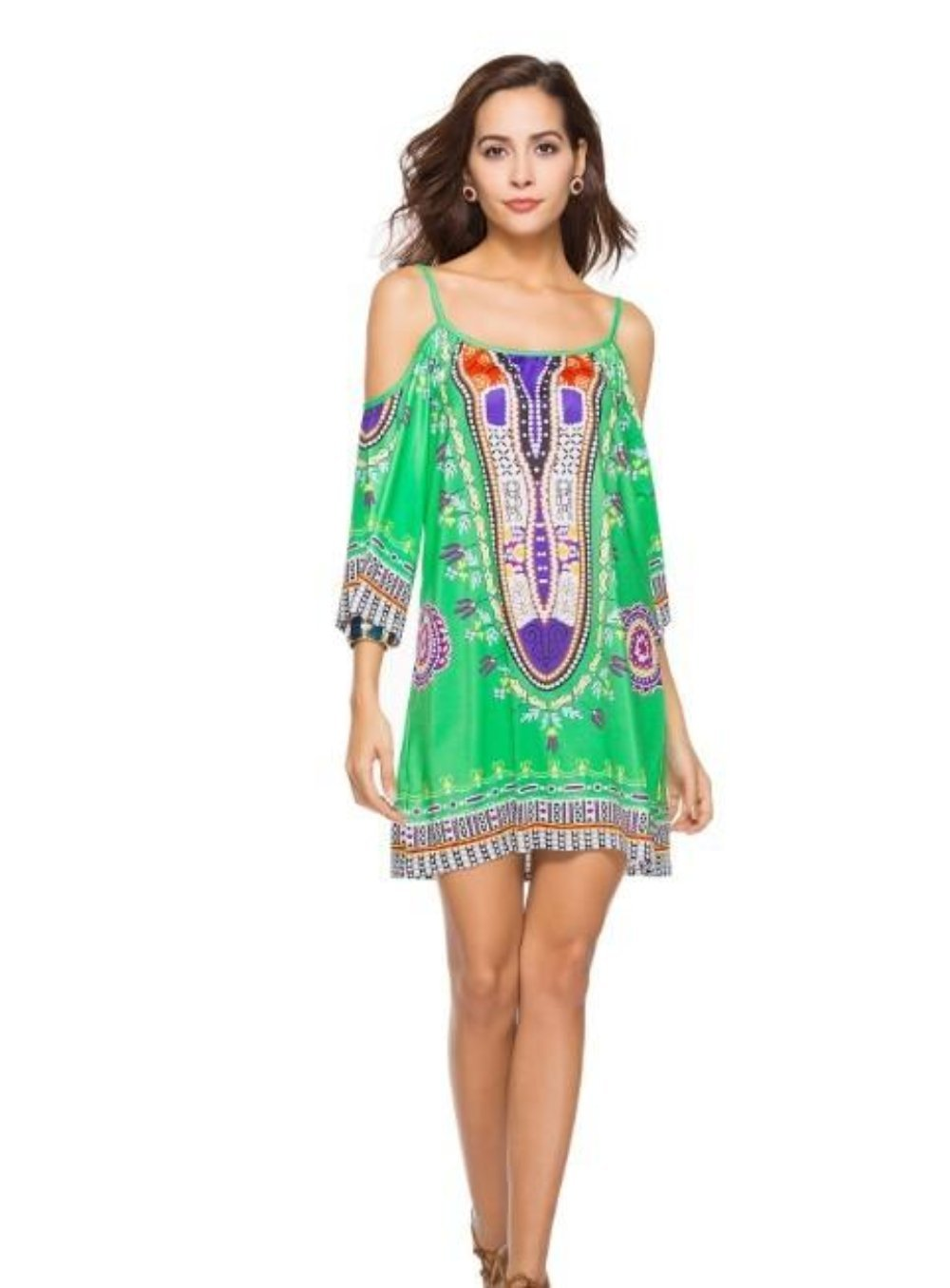 Summer Floral Green Flowy Drop Shoulder Dress