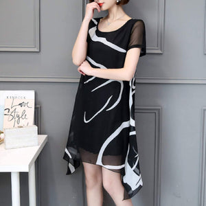 Womens Uneven Black and White Chiffon Dress