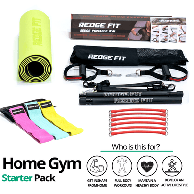 Get a personalized home gym pack that will cover all your needs from anywhere in the world! Become the master of your fitness journey with the Home Gym Starter Pack. The Home Gym Starter Pack will provide a weighted workout from anytime anywhere. This bundle includes: Redge Portable Gym Machine, Set of 3 Fabric Resistance Bands, and Yoga Mat Size Chart: Size Waistline (Inches) Width (Inches) S 35.5 8.8 M 39.5 8.8 L 43.5 8.8 XL 47 8.8 XXL 51 8.8