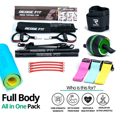 Get a personalized home gym pack that will cover all your needs from anywhere in the world! Become the master of your fitness journey with the Full Body All In One Pack. The Full Body All In One Pack will provide you with a weighted work out anytime and anywhere. The bundle includes: Redge Portable Gym Machine, Set of 3 Fabric Resistance Bands, Yoga Mat, Sweat Belt, and AB Roller Pro Size Chart: Size Waistline (Inches) Width (Inches) S 35.5 8.8 M 39.5 8.8 L 43.5 8.8 XL 47 8.8 XXL 51 8.8