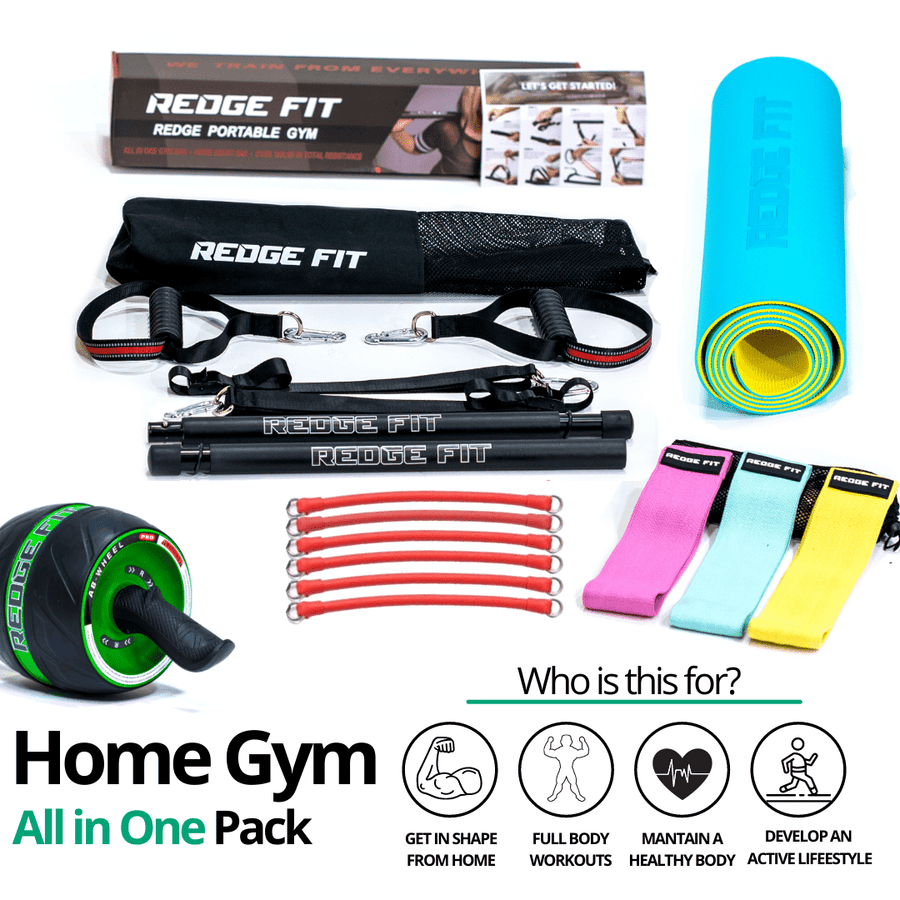 Get a personalized home gym pack that will cover all your needs from anywhere in the world! Become the master of your fitness journey with the Home Gym All In One Pack. The Home Gym All In One Pack allows you to get a weighted workout anytime anywhere. This bundle includes: Redge Portable Gym Machine, Set of 3 Fabric Resistance Bands, Yoga Mat, and AB Roller Pro Size Chart: Size Waistline (Inches) Width (Inches) S 35.5 8.8 M 39.5 8.8 L 43.5 8.8 XL 47 8.8 XXL 51 8.8